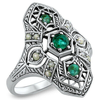 Genuine Emerald Antique Art Deco Style .925 Sterling Silver Ring Size 8, #363