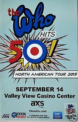 "The Who 'hits 50! North American Tour"" 2015 San Diego Concert Poster + Handbill"