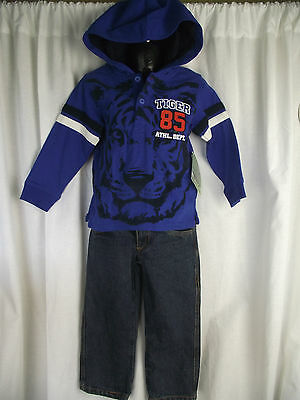 BNWT Boys Size 7 Very Smart Blue Hoodie Top and Straight Leg Denim Jeans Set