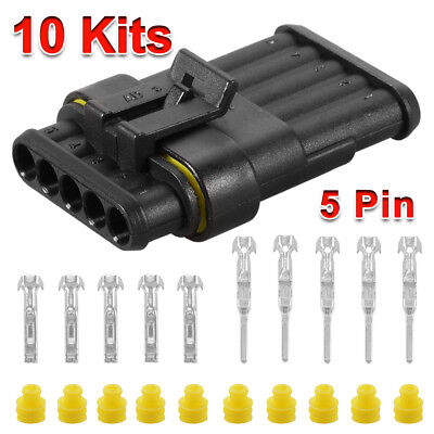 10 Kit Set Car 5/6 Pin Way Superseal Waterproof Electrical Wire Connector Plug