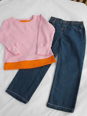 BNWOT Girls Sz 5 Pink/Denim Barbie Long Top & Jeans Set