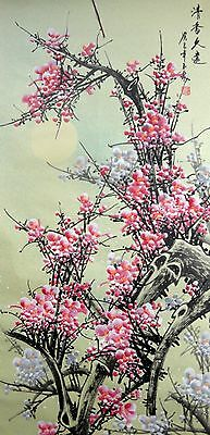 """chinese hanging scroll painting""""plum blossom and moon """""""