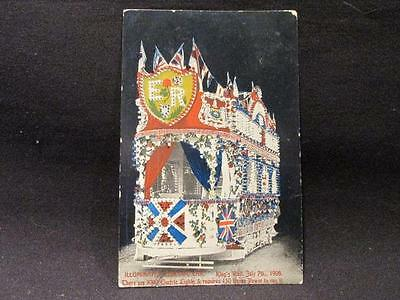 King's Visit 1908 Illuminated Electric Car W & T Gaines Postcard Cancelled Leeds