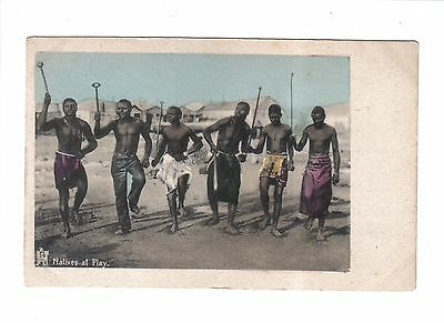 Vintage South African Ethnic Postcard.Natives at Play