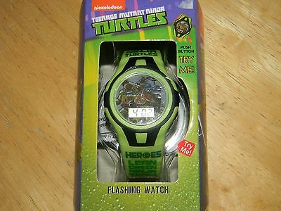 New Boys Teenage Mutant Ninja Turtles LCD Flashing lights watch green/black