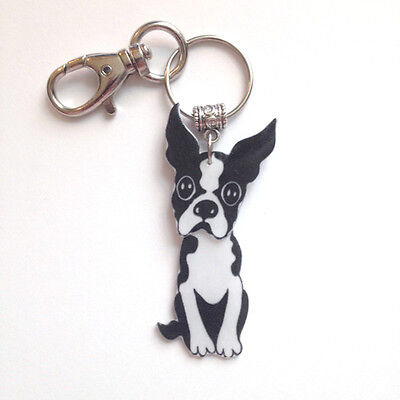 Boston Terrier 3D Keyring Key Fob Handcrafted Plastic Made in USA