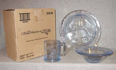 Humpty Dumpty child size blue glass plate/bowl/cup~unused w/box