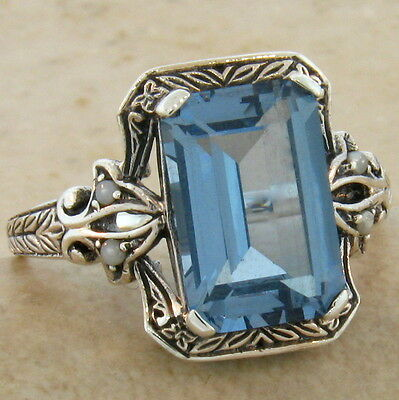 4 Ct. Sim Aquamarine Victorian Antique Design 925 Silver Ring Size 9.75,    #494