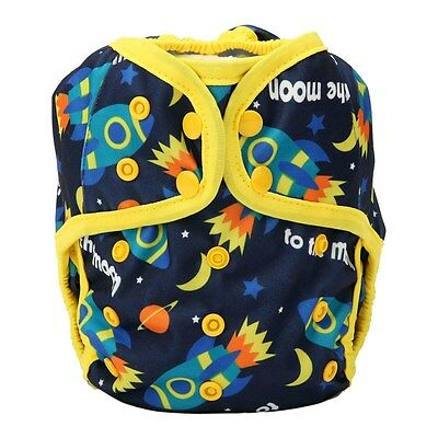 1 One Size Baby Diaper Cover Nappy Cover Double Gussets Adjustable Rocket Moon