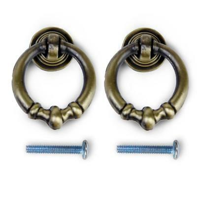 2pcs Antique Brass Cabinet Drawer Dresser Cupboard Pull Ring Handle Knob DIY
