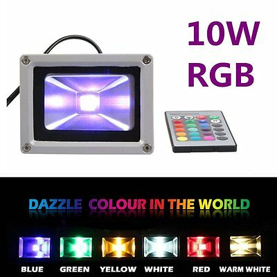 IP65 10W RGB LED Flood light Outdoor Garden Yard Security Lamp + Remote Control