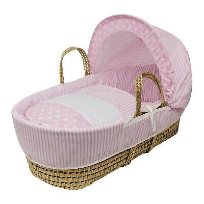 Pink Spots & Stripes Palm Moses Basket With Padding