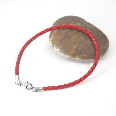 Silver Stainless Steel Lobster Clasps Braided Red Leather Wristband Bracelet NEW