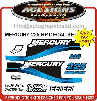 MERCURY 225 HP EFI SALTWATER OPTIMAX OUTBOARD DECALS, reproductions