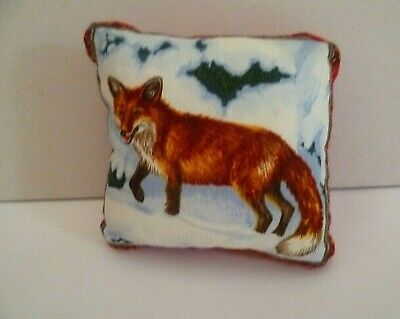 Pin Cushion Fox in Winter Design Cotton & Velvet Back in  Organza Gift Bag New