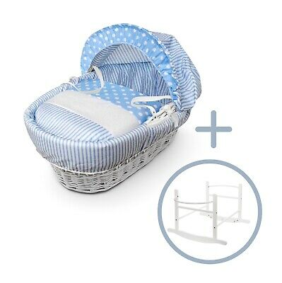 Blue Spots & Stripes White Wicker Moses Basket on Deluxe White Rocking Stand