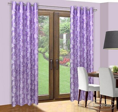 Double Layer Purple Curtain Floral Pattern 140x 250cm Ready Made Eyelet Ring Top