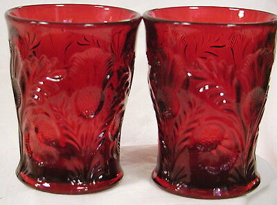 2 Red Glass Inverted Thistle Pattern Tumblers