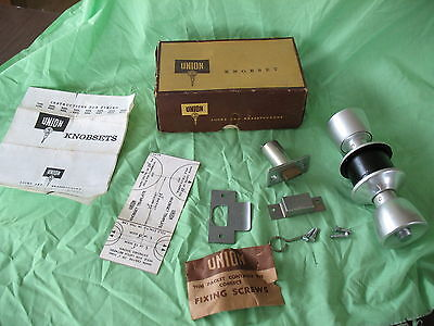 New old stock boxed pair Union door knob handles emergency push button release