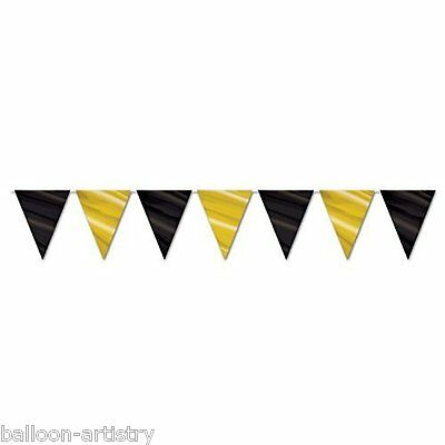 12ft BLACK & GOLD Flag Party Pennant Banner Bunting Decoration Birthday
