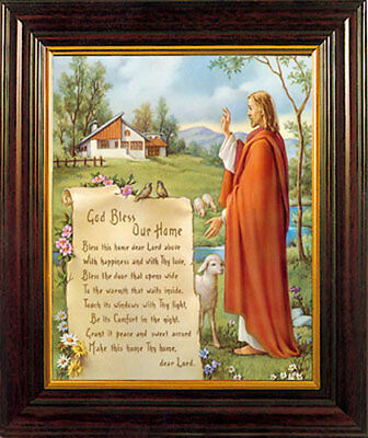 God Bless Our Home Framed Picture Jesus Blessing - Statues & Candles Also Listed