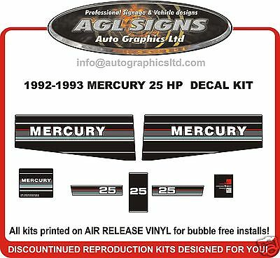 1992 1993 MERCURY 25 HP OUTBOARD MOTOR DECAL SET reproductions 20 HP