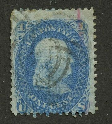 USA 1867 Franklin 1c blue F Grill #92 used
