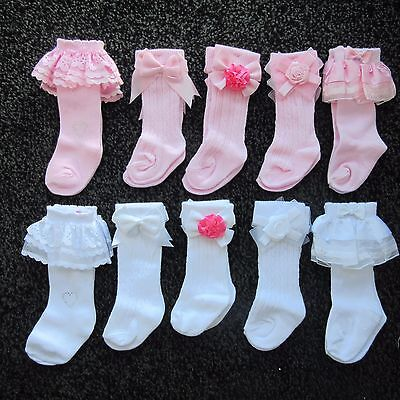 Baby Girls Bow Knee high Socks PINK OR WHITE - NEWBORN, 3, 6, 9, 12 or  18 MONTH
