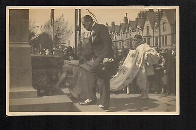 Colwyn Bay -  Old Council Offices Memorial Ceremony - real photographic postcard
