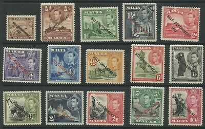 Malta 1948 KGVI Overprint issue Sc #208-222 mlh