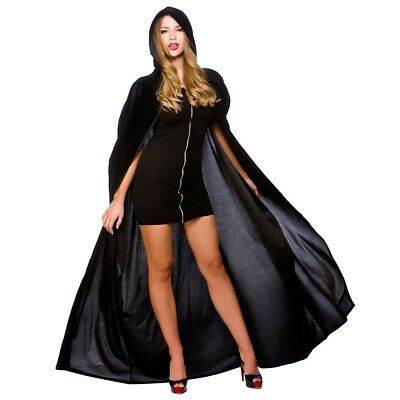 "Long Black Hooded Cape 55"" Velvet Deluxe Widow Witches Fancy Dress"