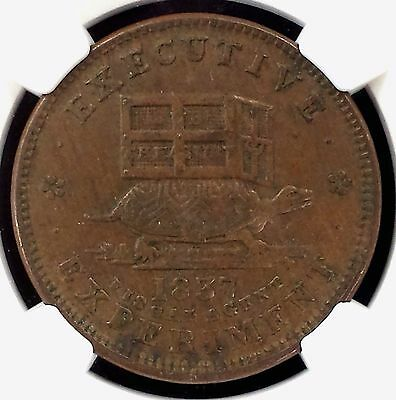 """1837 """"Illustrious Predecessor"""" Hard Times token! Certified AU 55 BN by NGC!"""