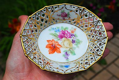 Vintage Schumann Bavaria Dresden Flowers Reticulated Small 12 sided Handcut Bowl