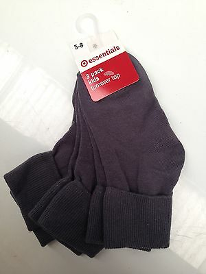 BNWT Little Boys/Girls Pack of  3 Target Turnover Top Grey School Socks Sz 5-8