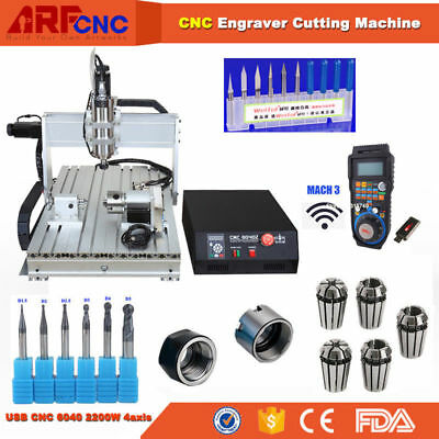 USB four 4 axis 6040 2200W cnc router engraver engraving machine Zaxis 105mm
