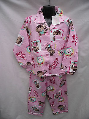BNWT Girls Sz 7 Cute Pink/Print Long Warm Flannel Winter Style PJ Pyjamas