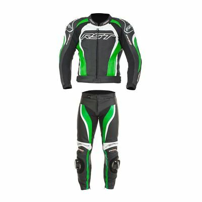 RST Tractech Evo 2 Motorcycle 2 PC Leathers Jacket & Trousers - Green/Black