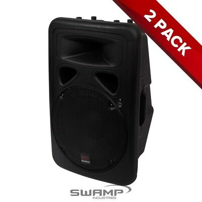 "2x SWAMP 12"" Powered PA Speaker Active Foldback Monitor Bi-Amped 150W + 30W RMS"