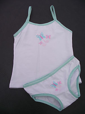 BNWOT Girls Sz 4-6 Pretty White/Mint Butterfly Logo Camisole Singlet & Pants Set