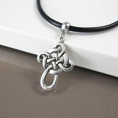 Silver Celtic Knot Pendant Black Leather Cord Surfer Cross Necklace Jewellery