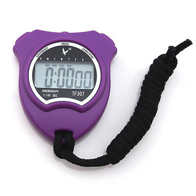 LCD Chronograph Digital Timer Stopwatch Sport Counter Odometer Watch Purple LEAP