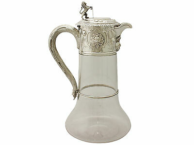 Antique Glass and Sterling Silver Mounted Claret Jug - Victorian