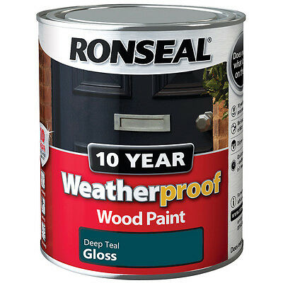 Ronseal 10 Year Weatherproof Wood Paint 750ml Satin Gloss - All Colours - Primer