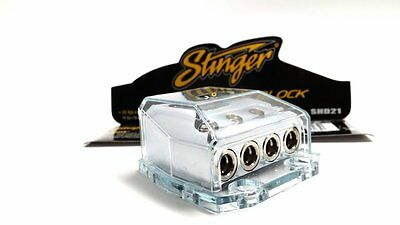 Stinger 4 Gang 0 4 8 AWG Gauge Power or Ground Amp Wire Distribution Block SHD21