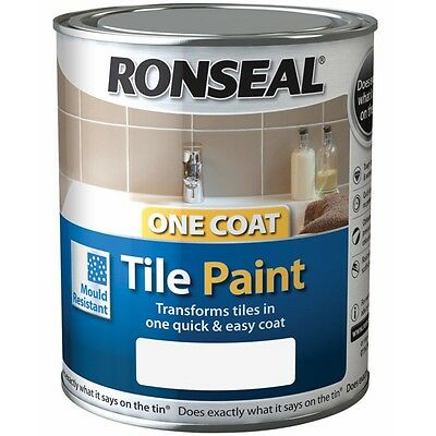 Ronseal One Coat Tile Paint 750ml Gloss Satin Kitchens Bathrooms - All colours
