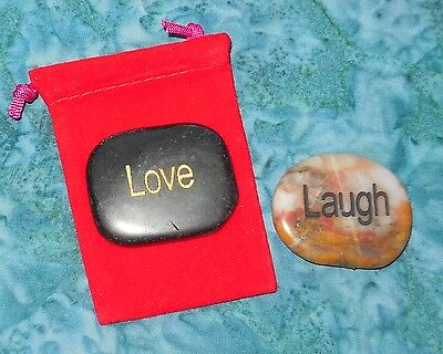 Laugh & Love Inspirational Meditation Gemstones Red Bag NEW Obsidian Jasper