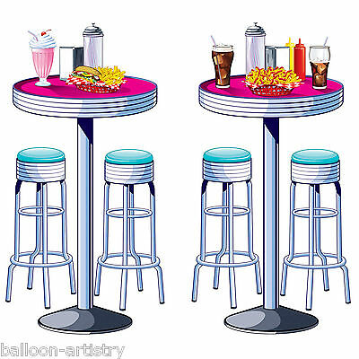 1950's Soda Shop Rock Roll Party Scene Setter Add-On Prop - Tables & Stools 50's