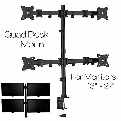 """Quad Four Arm Desk Mount Bracket LCD Computer Monitor Stand 13""""-27"""" Screen TV"""