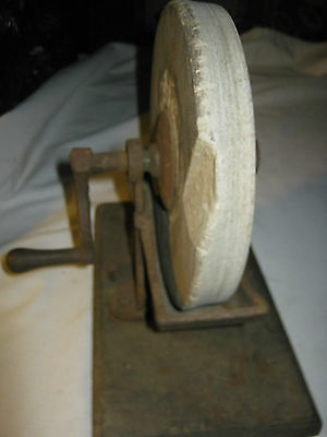 Antique Country Primitive Sign Cast Iron Wood Sharpening Stone Wheel Tool Knife