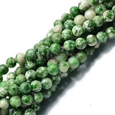 "Natural Green Jade Gemstone Round Loose Beads 6mm Strand 15"" For Bracelets"